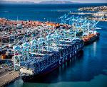 Largest Container Ship Benjamin Franklin docks at Port of Los Angeles - USA - December 2015